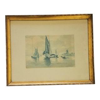 1940s Vintage Dutch Seascape Watercolor Painting For Sale