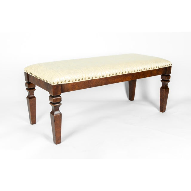 Mid 20th Century Mahogany Wood Framed Bench For Sale - Image 5 of 13