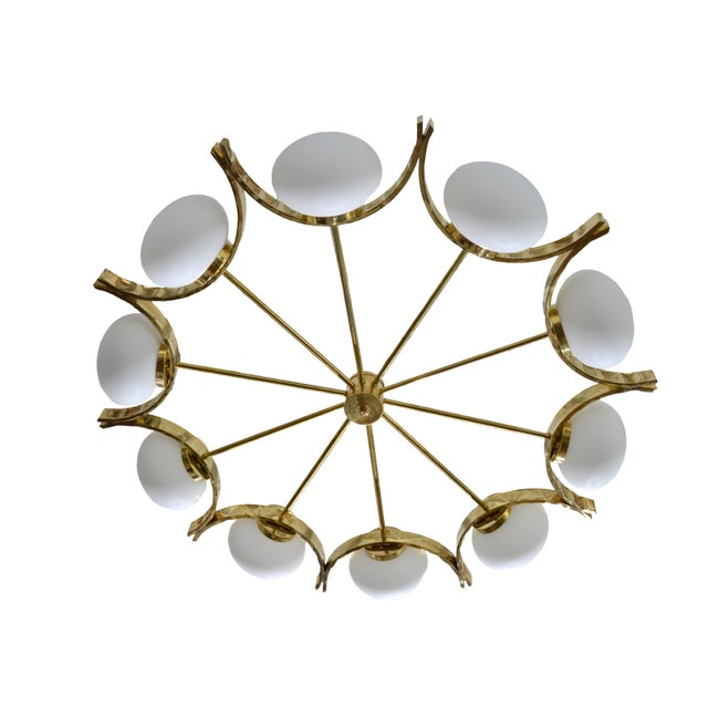 Contemporary Italian Modern Round Brass and Ten Opaline Glass Globe Chandelier For Sale - Image 3 of 9