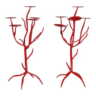 Faux Coral Candelabras Hand Painted Fiery Red - Pair For Sale