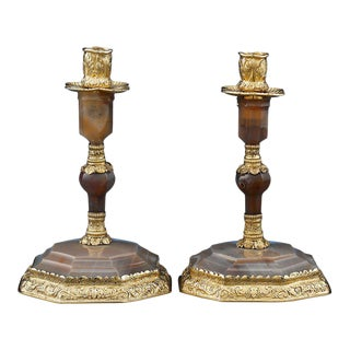 George IV Silver Gilt and Agate Candlesticks by Edward Farrell - A Pair For Sale