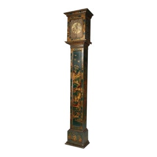 Mid 19th Century English Green Lacquered and Parcel Gilt Tall Case Clock For Sale