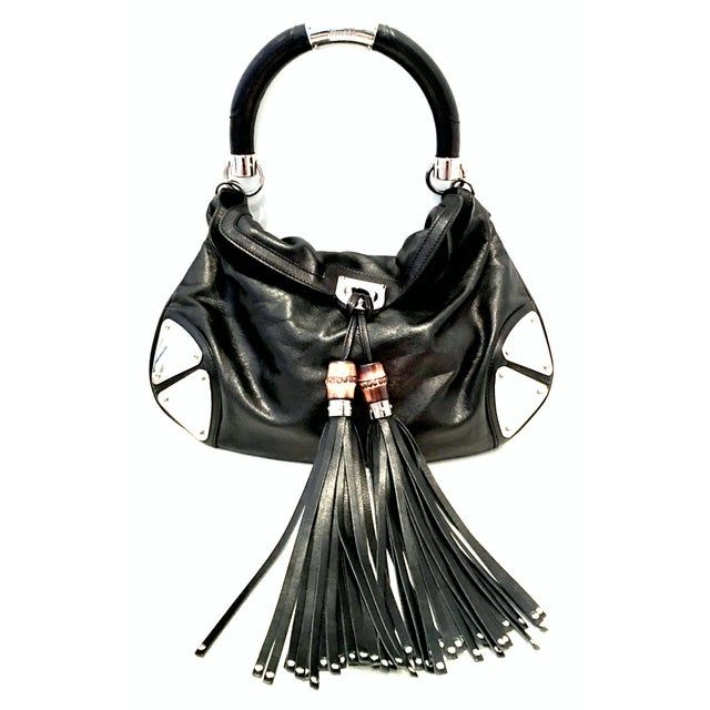 """21st Century Gucci Black Leather & Chrome """"Indy"""" Hobo Hand Bag For Sale - Image 13 of 13"""