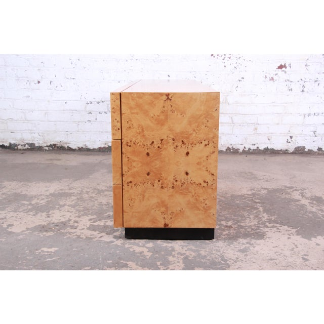 Milo Baughman Burled Olive Wood Long Dresser or Credenza For Sale - Image 11 of 12
