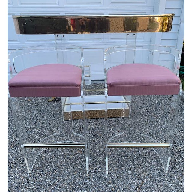 Amazing Charles Hollis Jones for Hill Manufacturing lucite bar and two stools. Mirror top with rose gold colored mirrored...