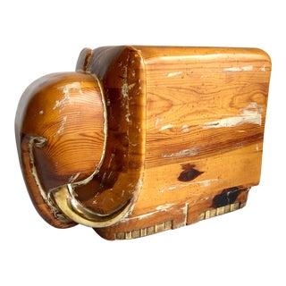 1970s Vintage Elephant Wood Carved Footstool For Sale