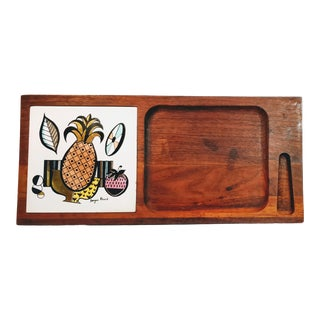 Vintage Georges Briard Bar Cutting Board Cheese Tray Tile Pineapple Wood Fruit Mid Century For Sale