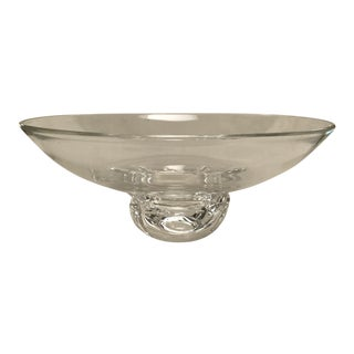 Mid-Century Large Crystal Signed Steuben Footed Bowl For Sale