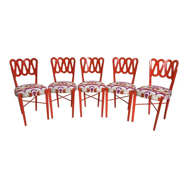 Newly Lacquered Dining Chairs - Set of 5 For Sale
