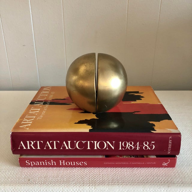 Mid-Century Modern 1980's Brass Mid Century Half Sphere Bookends - A Pair For Sale - Image 3 of 6