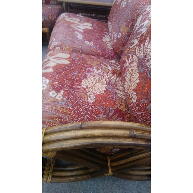 Vintage Mid Century Paul Frankl Style Pretzel Arm Rattan Bamboo Sofa - Set of 5 For Sale - Image 11 of 13