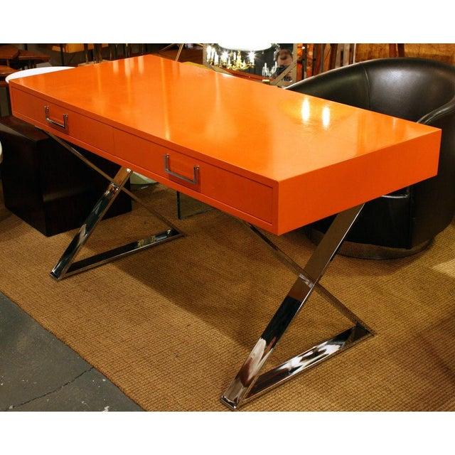 Milo Baughman Milo Baughman Orange Lacquered Campaign Desk For Sale - Image 4 of 7