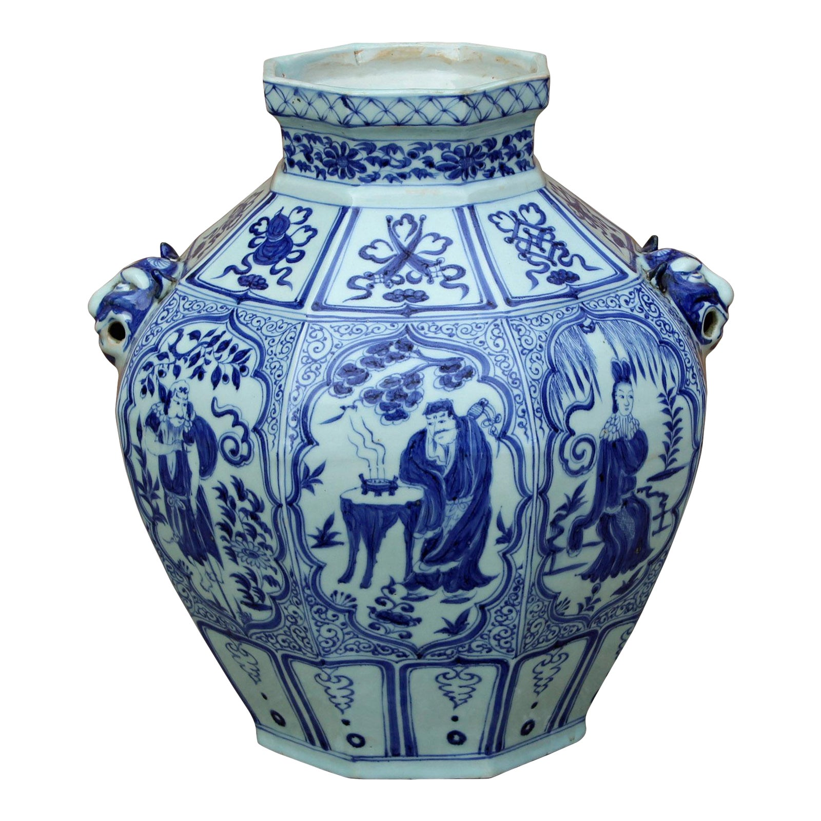 Chinese Blue White Porcelain 8 Immortal Octagon Foo Dog Accent Vase