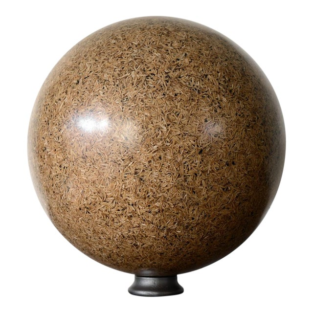 Rice Husk Lucite Sphere Sculpture For Sale