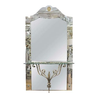 Italian Hollywood Regency Mirror With Console Shelf For Sale