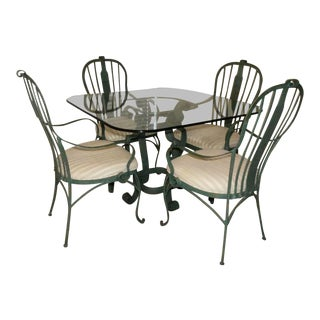 Hooker Furniture Wrought Iron Dining Set - Glass Top Table With 4 Armchairs For Sale
