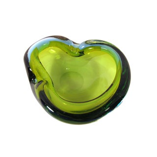 Murano Hand Blown Olive Art Glass Ashtray and Catch All Bowl