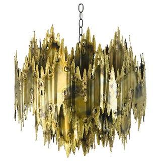 Brass Brutalist Chandelier by Feldman For Sale