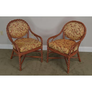 McGuire of San Francisco Pair Painted Twist Rattan Armchairs Preview