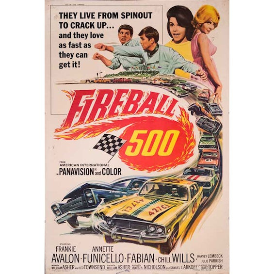 'Fireball 500' 1966 Giant Movie Poster - Image 1 of 2