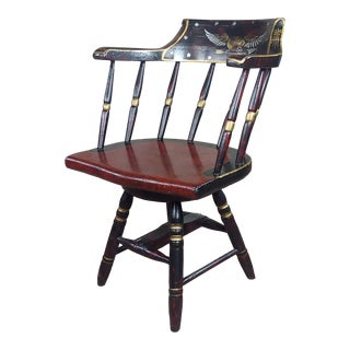 Antique Painted Captain Chair With Federal Eagle -C1900s For Sale