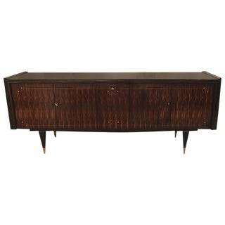 French Art Deco Macassar Ebony Mother-of-Pearl Buffet with Center Dry Bar For Sale