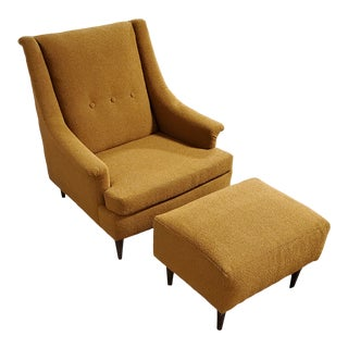 1960s Mid Century Lounge Chair & Ottoman by Selig For Sale