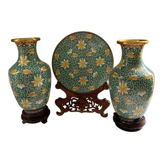 Vintage a Chinese Cloisonne Garniture - Set of 3 For Sale