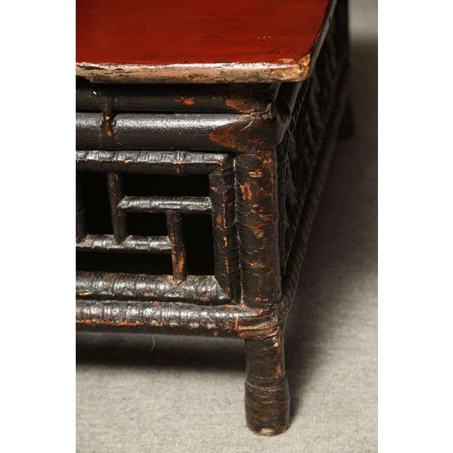 Wood Small 19th Century Chinese Bamboo with Red Lacquered Top Coffee Table For Sale - Image 7 of 11