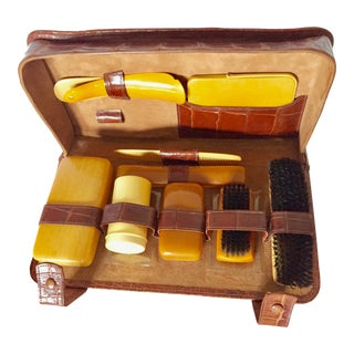 Early 20th Century Vintage Stanley Crocodile Mens Travel Grooming Kit For Sale