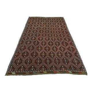 Vintage Turkish Handmade Kilim Embroidered Rug For Sale