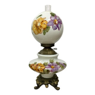 Turn of Century Hand Painted Hurricane Lamp