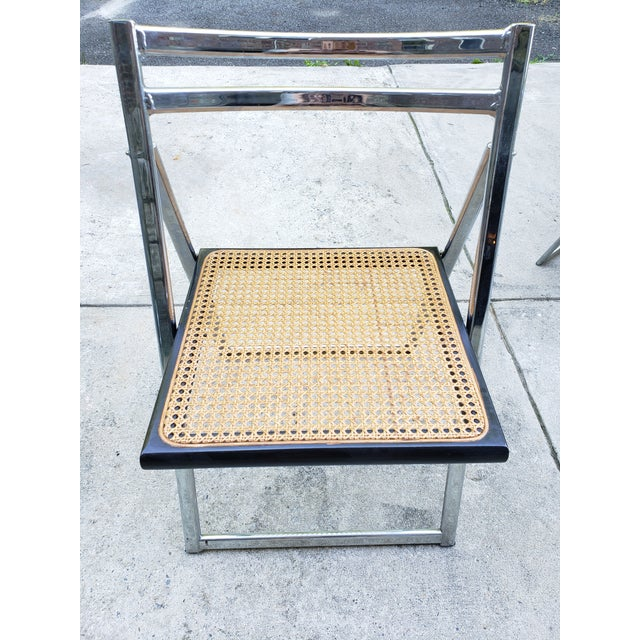 Mid Century Modern Chrome & Cane Folding Chairs- Set of 4 For Sale - Image 10 of 13