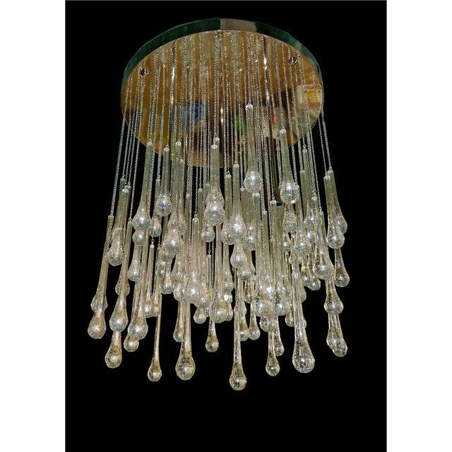 Mid Century Modern Brass & Murano Glass Drops Flush Mount Ceiling Light, Customizable For Sale - Image 12 of 13