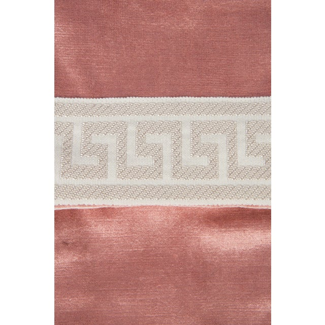 Custom dusty pink velvet stocking with ivory-and-cream Greek key trim. Trim and velvet on both sides. Loop for hanging.