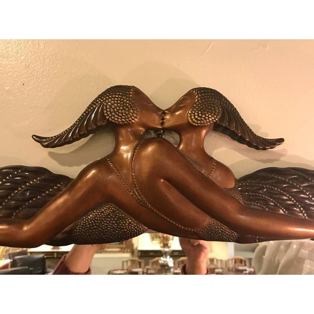 Signed Erte Mirror Terminating in Two Kissing Lovers Both Woman For Sale - Image 4 of 11