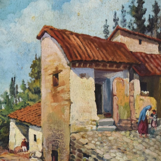 Early 1900s Italian Mediterranean Village Oil Painting For Sale - Image 4 of 10
