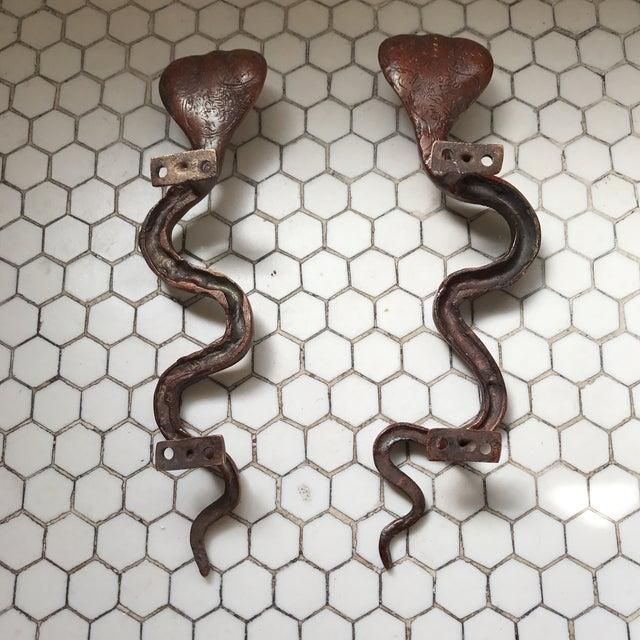 Hollywood Regency Brass Cobra Door Handles- a Pair - Image 10 of 11