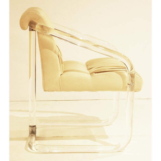 1970s Pair of Signed Lion in Frost Lucite and Chrome Chairs For Sale - Image 5 of 5