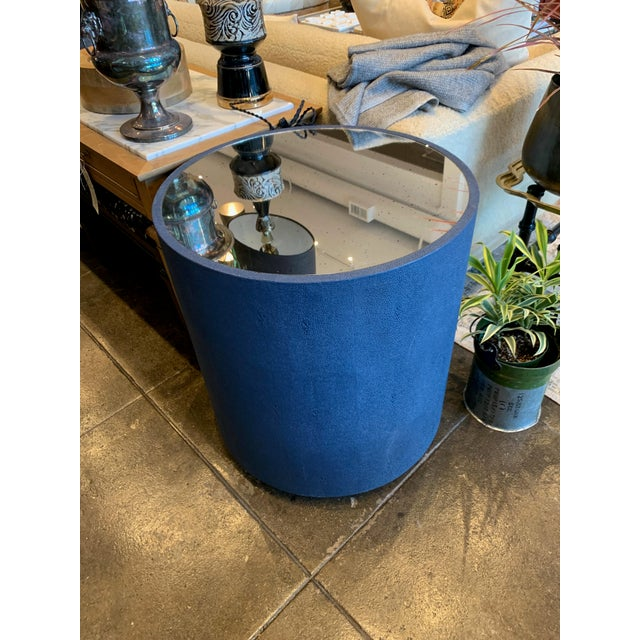 Glass Contemporary Blue Faux Shagreen and Mirror End Table For Sale - Image 7 of 7