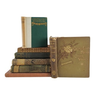 Antique Bronze Poetry & Literature Books Collection - Set of 7 For Sale