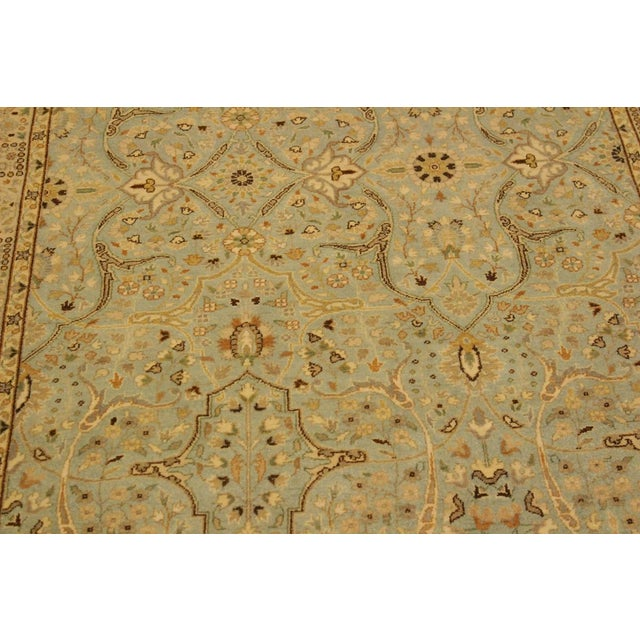 1980s Semi Antique Istanbul Ira Blue/Ivory Turkish Hand-Knotted Rug -4'0 X 5'11 For Sale - Image 5 of 8