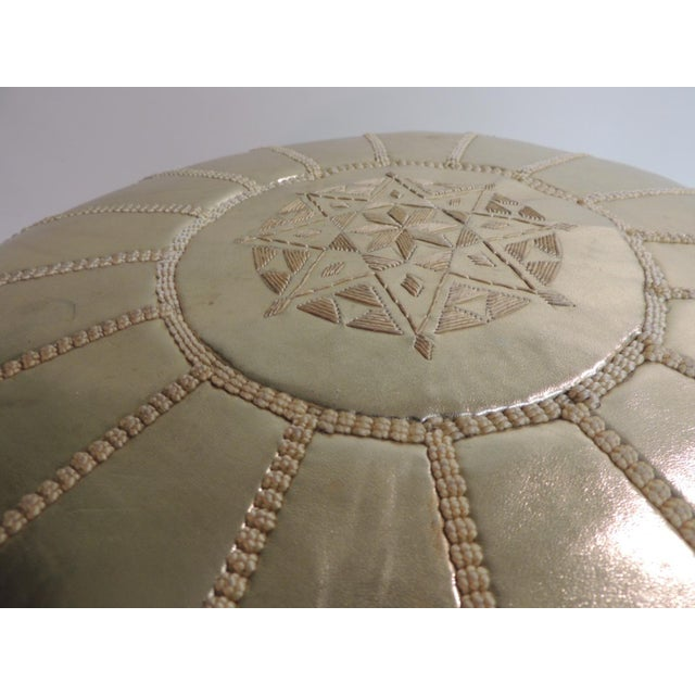 Round Boho Chic Gold Moroccan Ottoman For Sale - Image 4 of 5