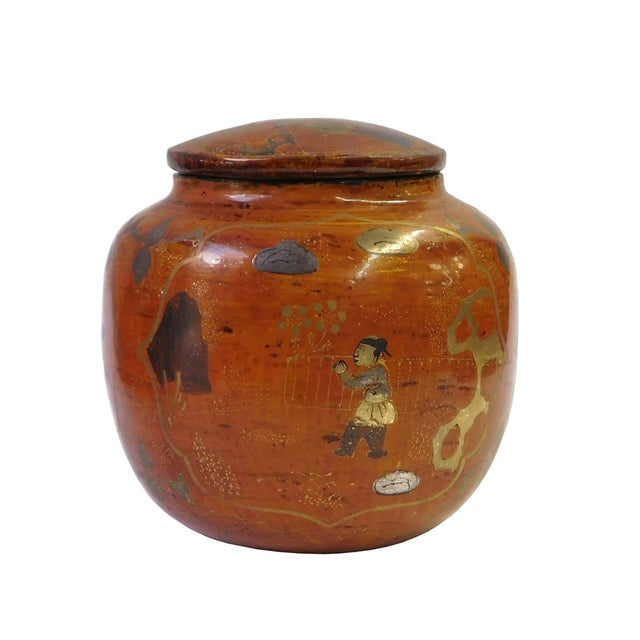 Chinese Brown Lacquer Painted Container - Image 4 of 8