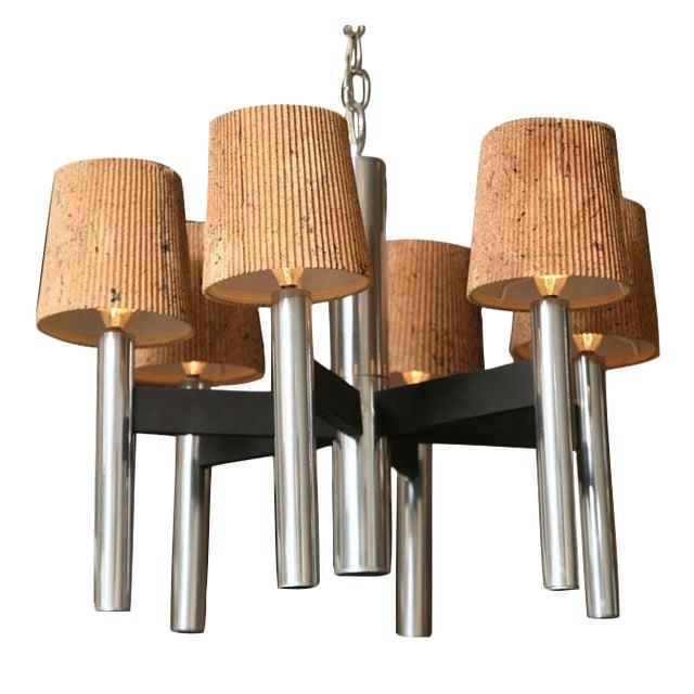 Modern Feldman Lamp Co. Chrome Tubular Chandelier With Cork Shades. - Image 11 of 11