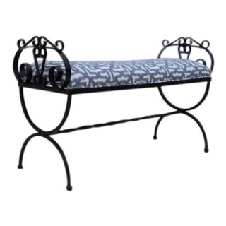 Contemporary Wrought Iron Upholstered Bench For Sale