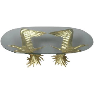 1970s Designer Table by Jacques Duval-Brasseur With Pair of Winged Birds For Sale