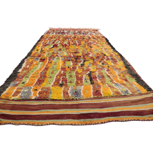 Abstract Expressionism Vintage Berber Ait Bou Ichaouen Moroccan Rug - 5'4 X 13'4 For Sale - Image 3 of 10