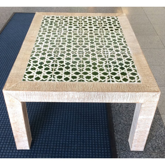 Mid-Century Combed Wood And Tile Cocktail Table - Image 7 of 7