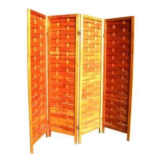 Vintage Paneled Wood Room Divider For Sale